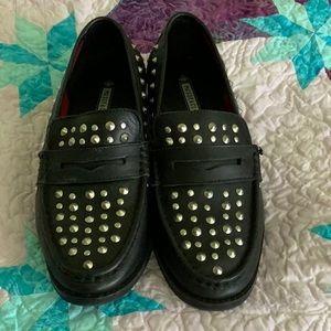 Women's Black & Silver Stud loafers